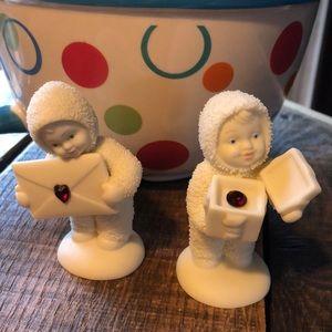 Snowbabies set with ruby July birthstone NWOT